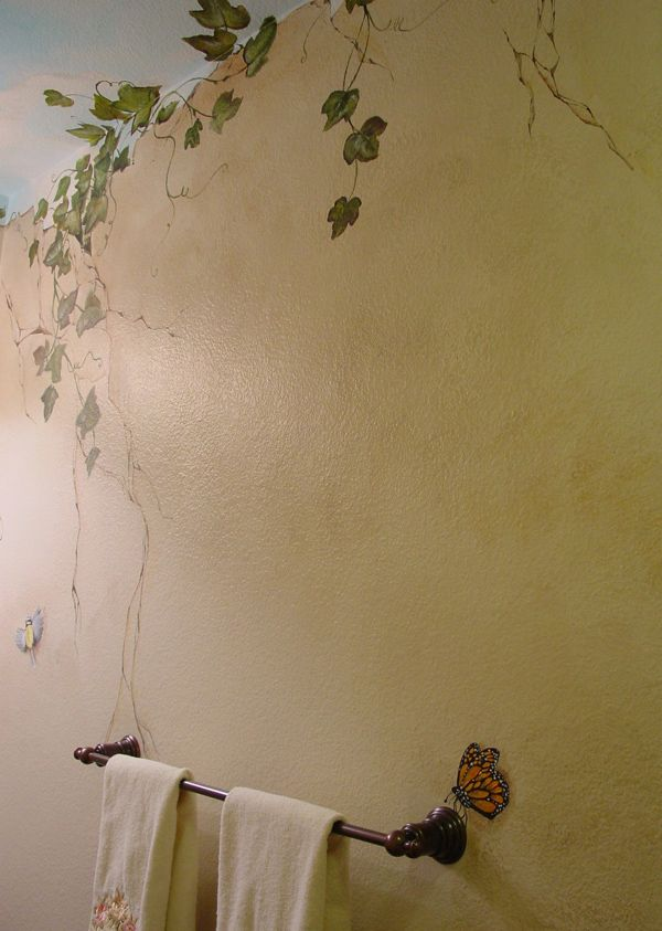 Painted vine butterfly on bathroom wall for some - Alternatives to painting walls ...