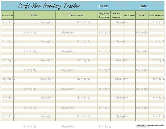 craft show sales inventory tracker printable pdf instant