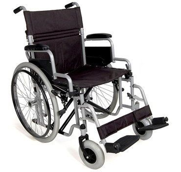 small lightweight aluminium wheelchair with canvas seat disability