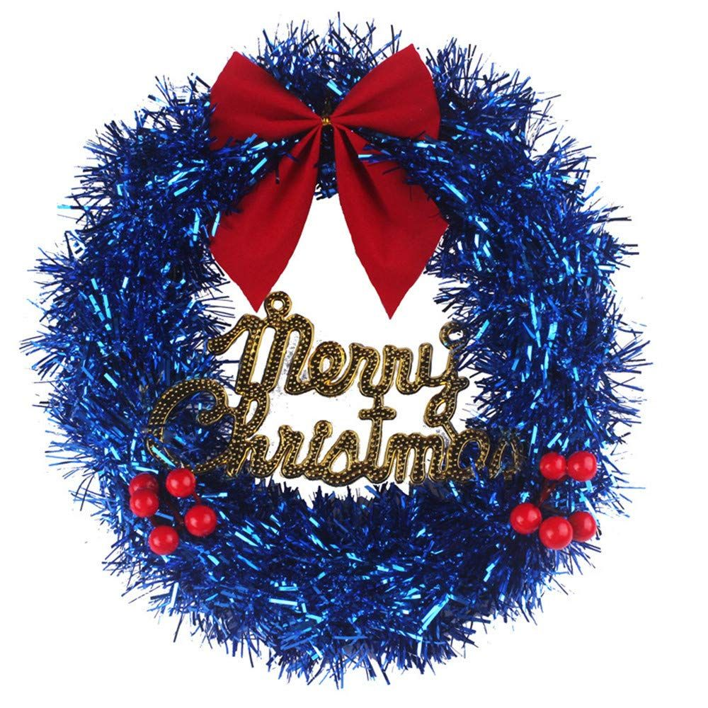 Seventopia Christmas Tree Garland Ornaments Blue Wired Star Decorations 24.5 Feet for House Office Christmas Party 2 Pack