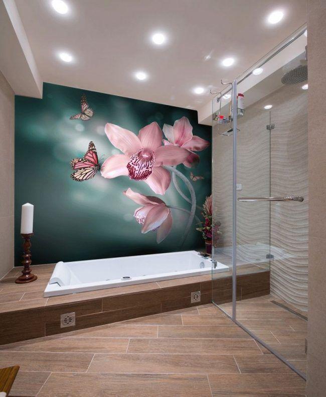 Badezimmer-Ideen-kleine-Baeder-Orchidee-Schmetterlinge-Fototapete - fototapete f r badezimmer
