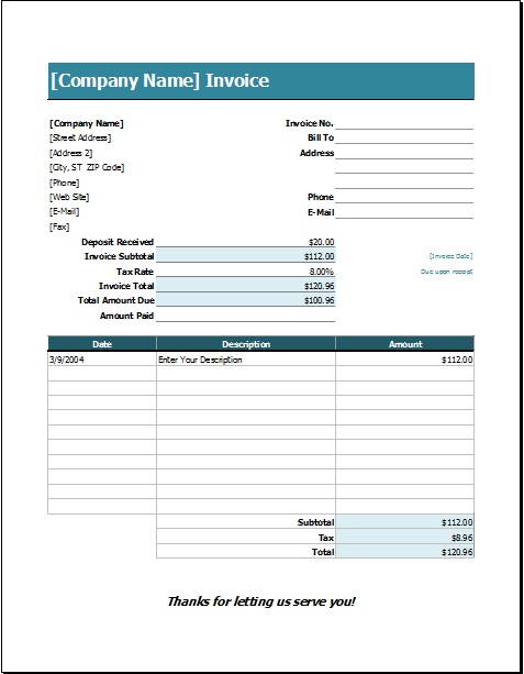 Excel Invoice Templates Invoice Template Wedding Service Invoice Format In Excel