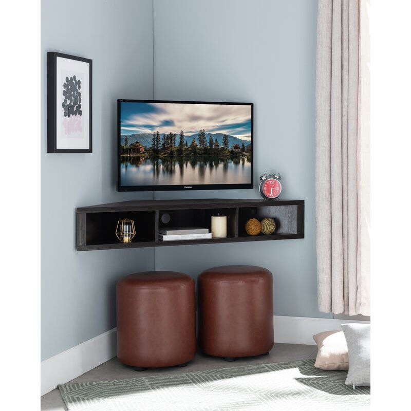 French Floating Corner Tv Stand For Tvs Up To 50 In 2020 Tv Stand Decor Living Room Corner Tv Corner Tv Stand