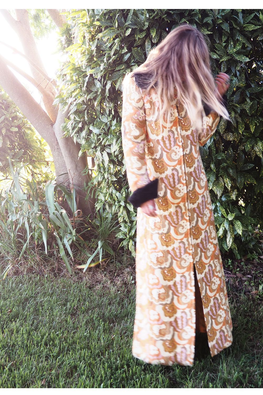 For Love of the Moon - Dream Away Vintage 60s Tapestry Maxi Coat with Faux Fur Trim