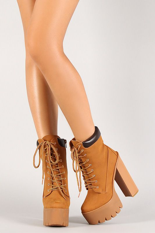 beb737813ff Chunky Heel Lug Sole Platform Work Boot | Hello Fall in 2019 | Shoes ...