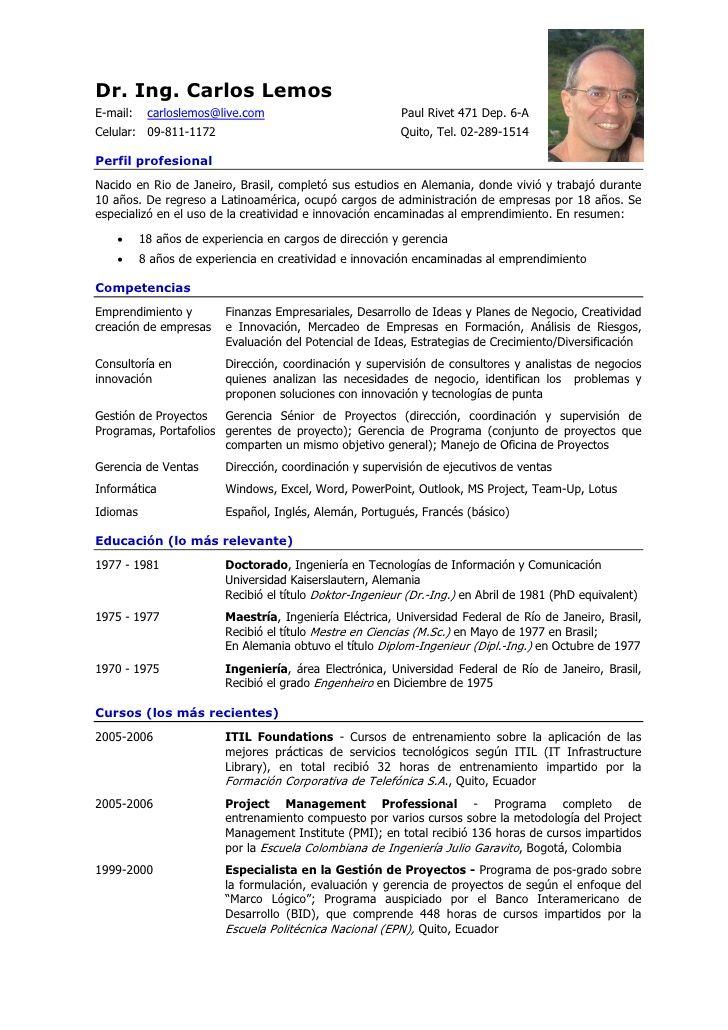 Curriculum Vitae De Carlos Lemos En Espaol 1 728 Jpg 728 1030