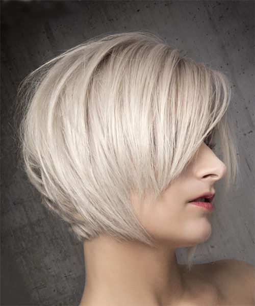 Short Straight Light Ash Blonde Bob Haircut With Side Swept Bangs In 2020 Short Straight Bob Hairstyles Straight Bob Hairstyles Blonde Bob With Bangs
