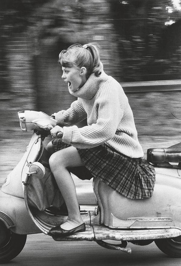 "mogatam:  ""French girl speeding on a scooter, 1984.  """