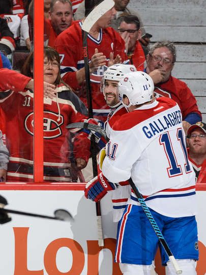 10.11.15 - Habs vs Sens - Tomas Plekanec #14 of the Montreal Canadiens celebrates his goal with teammate Brendan Gallagher #11 during the NHL game against the Ottawa Senators at Canadian Tire Centre in Ottawa, Ontario, Canada. (Photo by Minas Panagiotakis/Getty Images)