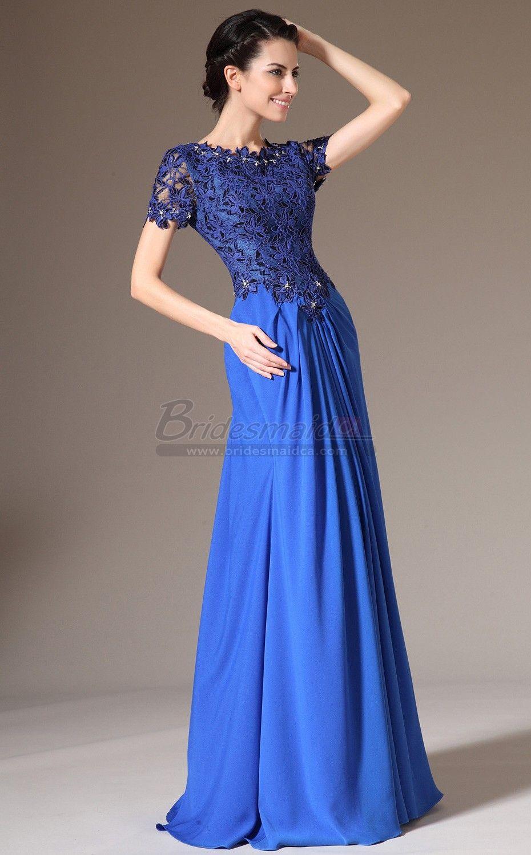 Jewel neck chiffon lace royal blue long bridesmaid dress with jewel neck chiffon lace royal blue long bridesmaid dress with short sleeve jt ca1391 ombrellifo Image collections