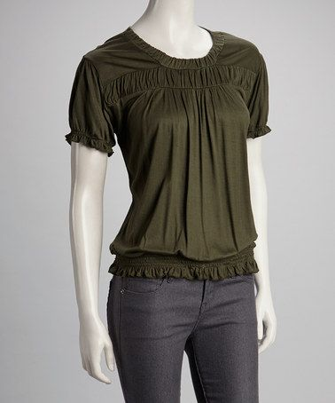 15e9fc459a Take a look at this Dark Green Short-Sleeve Top by Jayli on  zulily today!