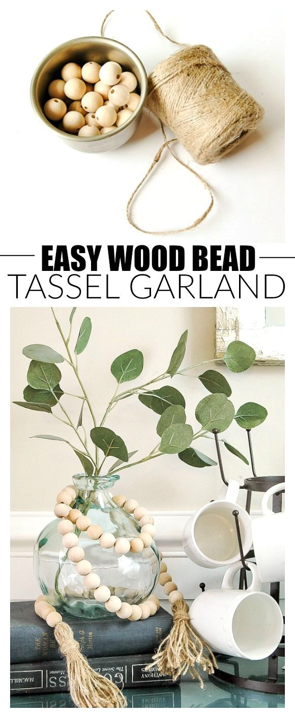 Photo of $5 DIY: How to Make a Wood Bead Garland with Tassels