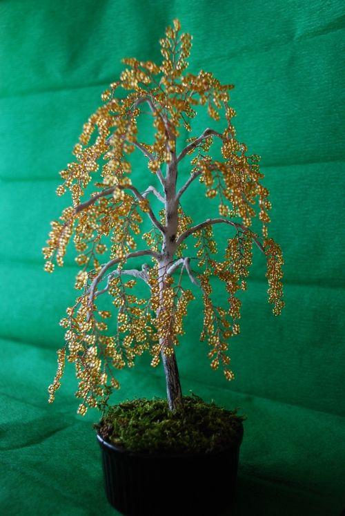 Береза | Бисерные цветы, Деревья из проволоки, Бисер