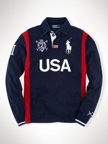 Men Long Sleeve Polo Tees Ralph Lauren Rugby Usa