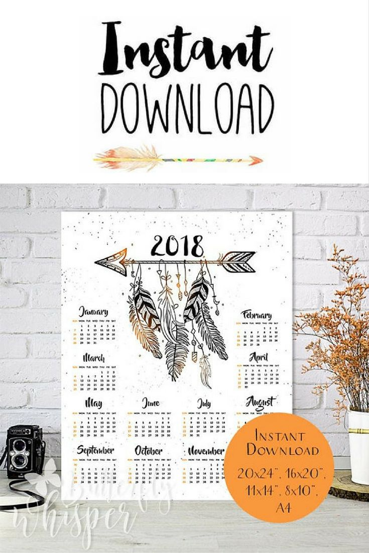 Calendar Typography Examples : Boho calendar downloadable large bohemian calendar for the