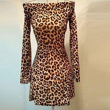 Mini vestido de leopardo bateau sexy de las mujeres – USD $ 9.99