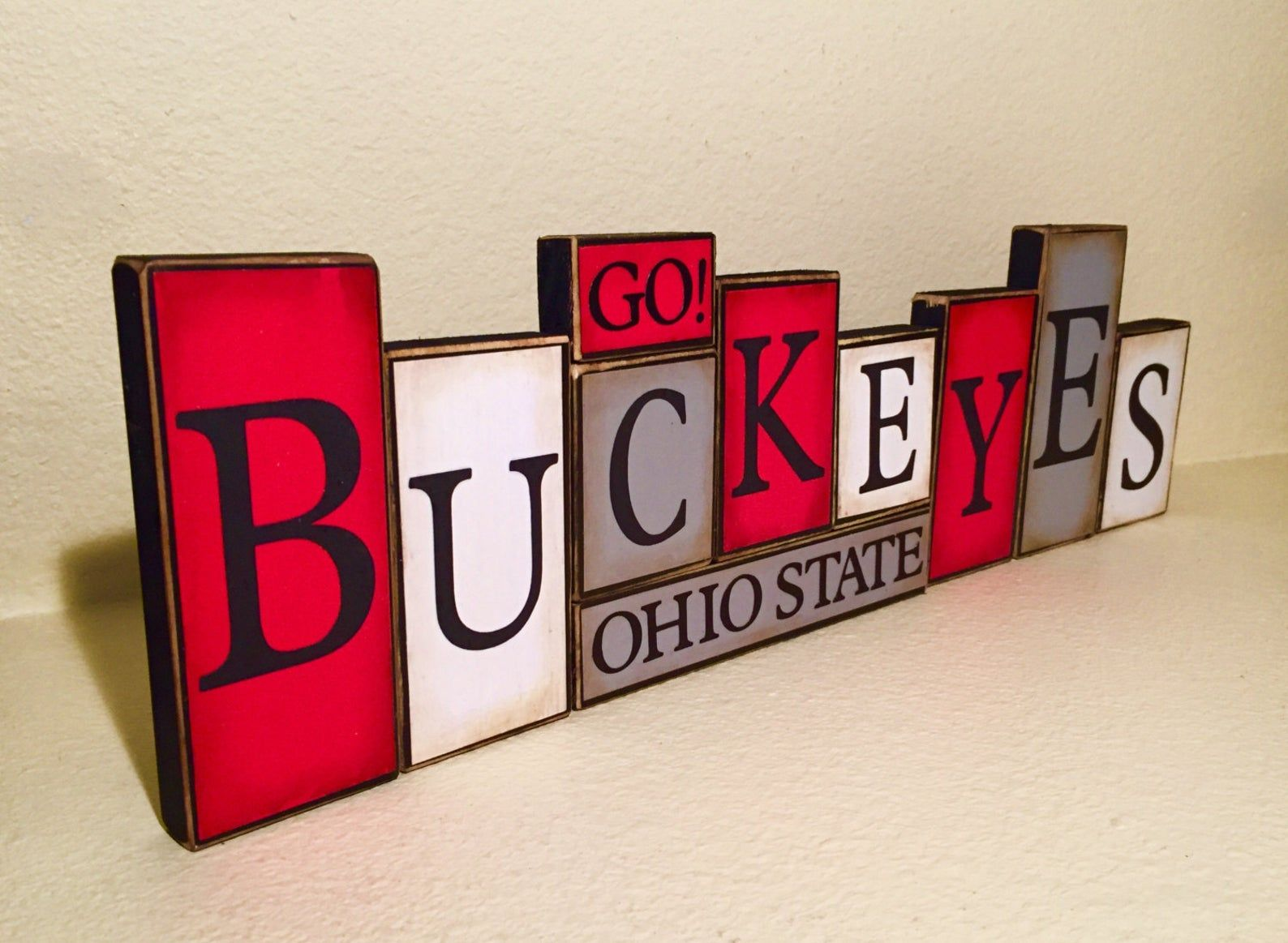 Ohio State Buckeyes Sign Buckeyes Word Blocks sign - farmhouse decor - The Ohio State Buckeyes football - OSU football Buckeyes shabby chic