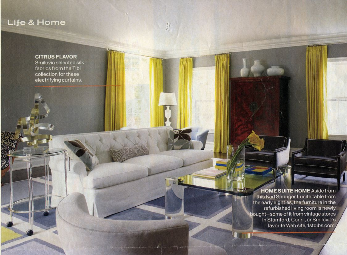 Love the gray and yellow in this room as well as that amazing coffee table