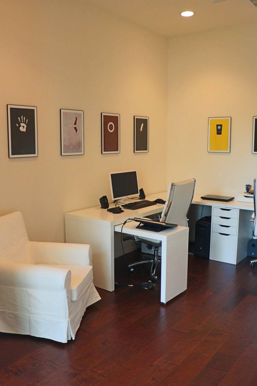 ikea desks, white jennylund chair, white office