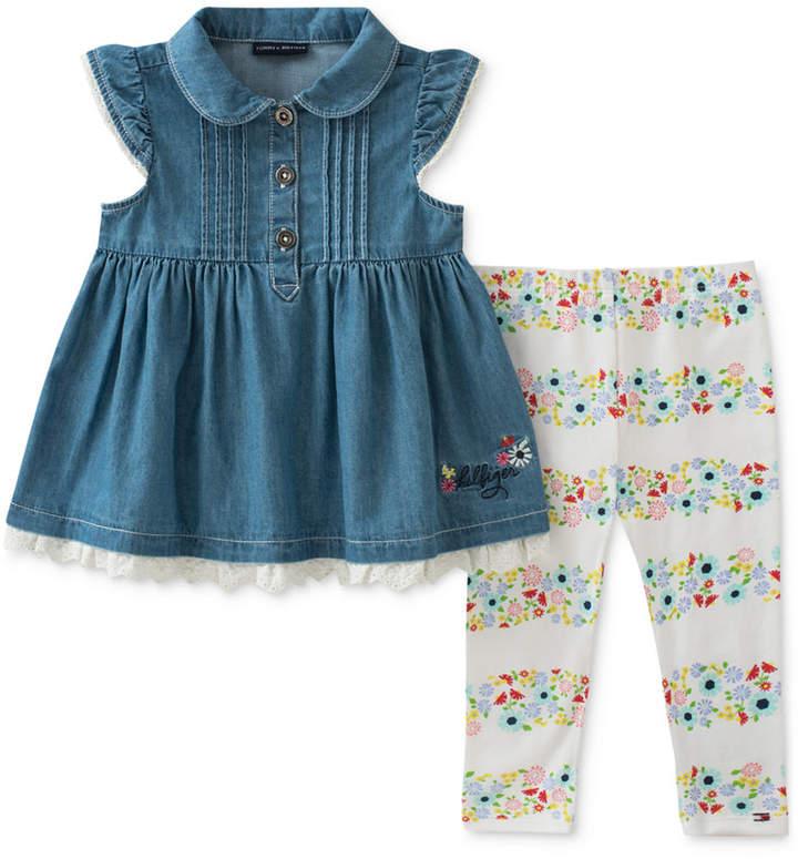 ea6f7f8af93 Tommy Hilfiger 2-Pc. Denim Tunic & Floral-Print Leggings Set, Baby Girls  #babygirl, #promotion
