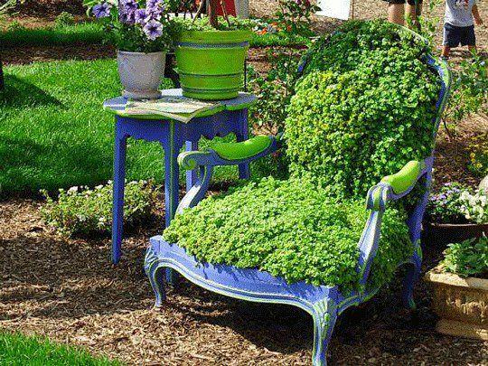 alter sessel begrünen gartendeko Garten Pinterest Gartendeko - gartendeko aus metall selber machen