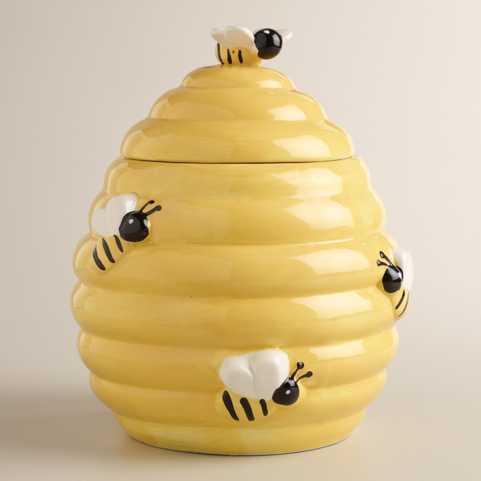 Ceramic Beehive Cookie Jar With Bee Handle Lid Brand New