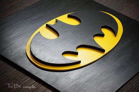 Slaapkamer Met Kunstmuur : Superheld batman kunst aan de muur kids slaapkamer door tobicouple