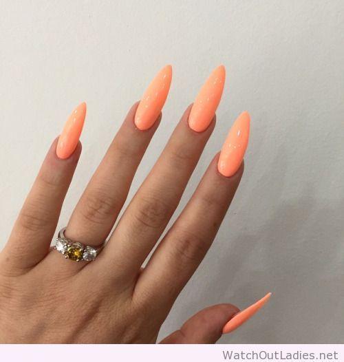 Long Neon Orange Nails Neon Orange Nails Orange Nails Trendy Nails