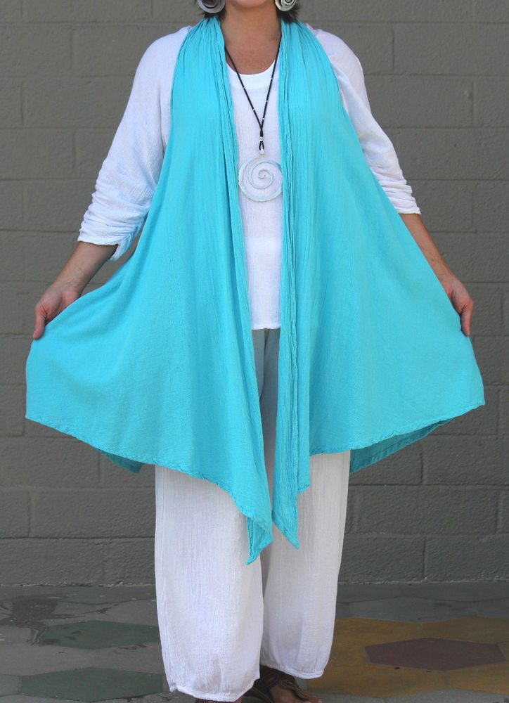 OH MY GAUZE Cotton Lagenlook  NORA VEST  Long Duster Top  OSFM  L/XL/1X/2X  ICE #OHMYGAUZE #Tunic