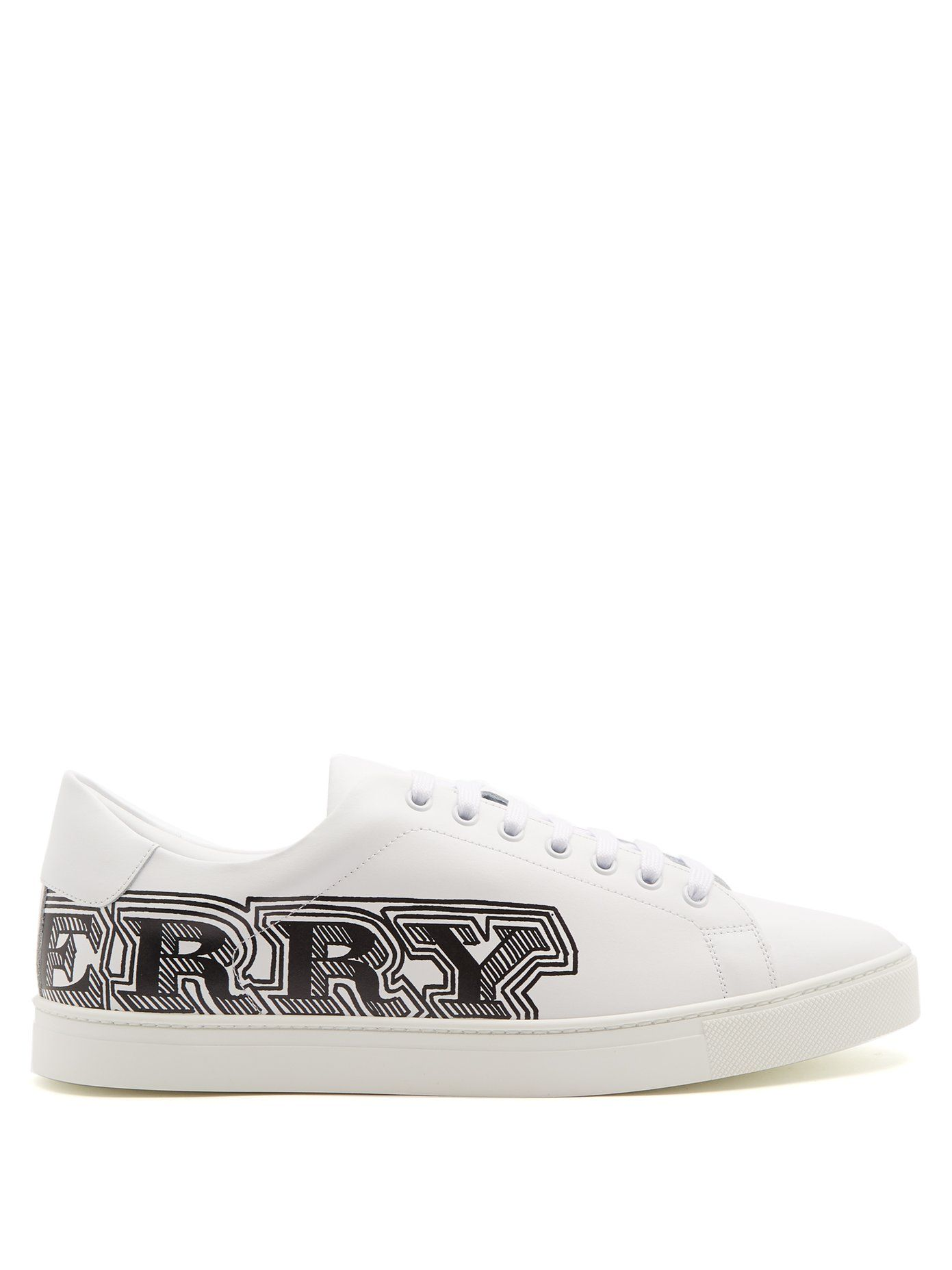 Logo Print Leather Sneakers - Black Burberry Q54qCl