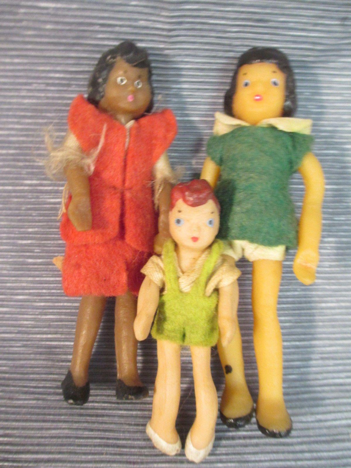 Vintage Bendable Vinyl Dollhouse Dolls Felt Clohting Lot of 3   eBay ...