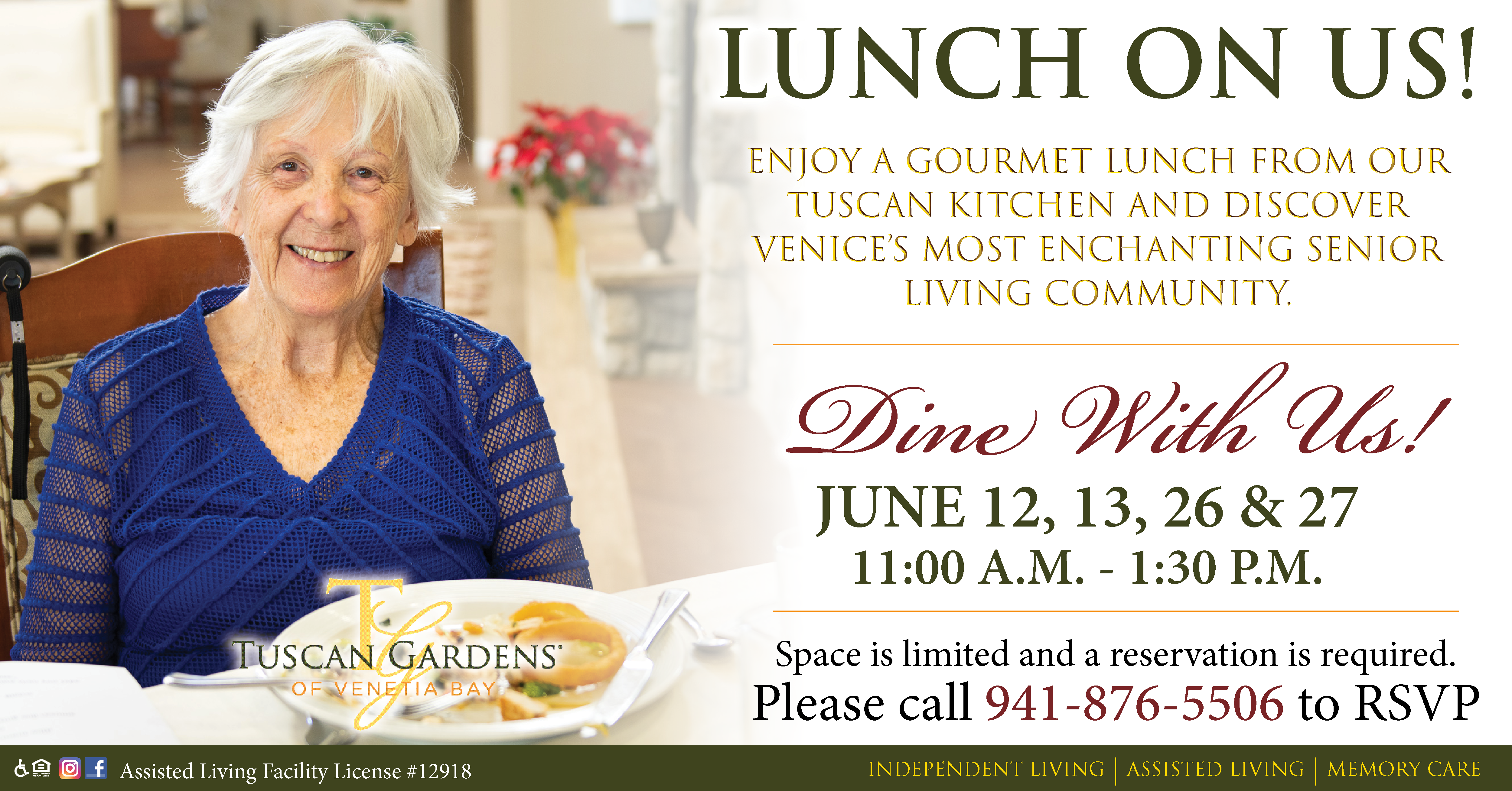 Experience A Taste Of Our Innovative Independent Living Assisted Living And Memory Care Community And Enjoy A Gourmet Lu With Images Tuscan Garden Tuscan Tuscan Kitchen