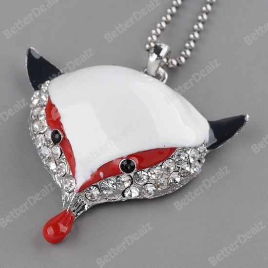 2 Colors Silver plating Alloy Middle East Rhinestone Fox pendent