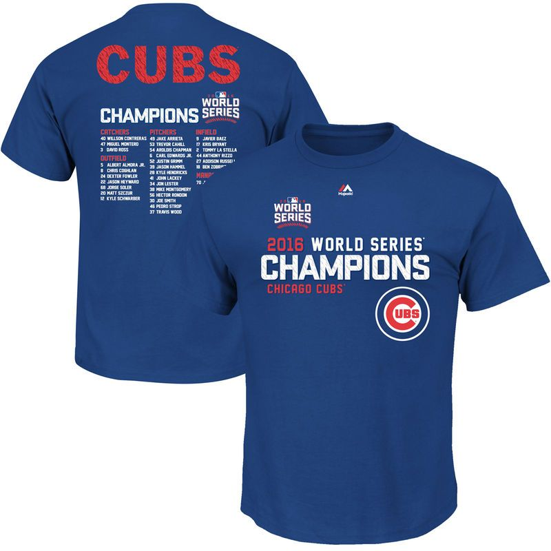 8a34d884abe Chicago Cubs Mens World Series Champions Sweet Line Up Roster Royal Blue  Shirt Big   Tall Sizes (XLT) Officially Licensed by the MLB Made by Majestic  Cotton ...