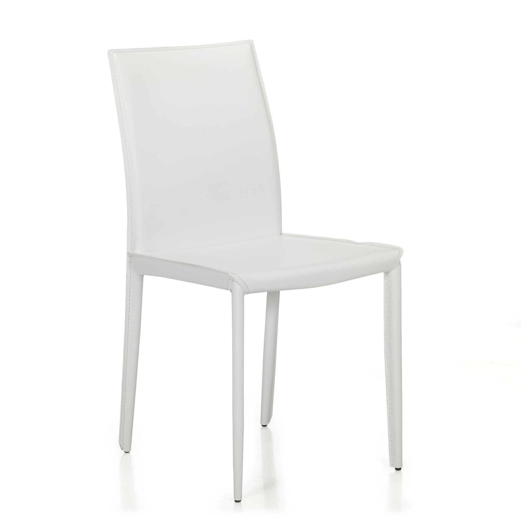 Chaise En Crote De Cuir Blanche Blanc