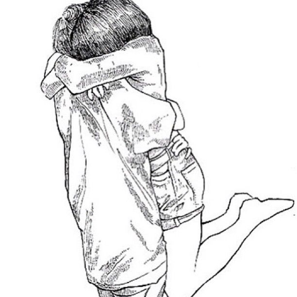 Boy Hugging Girl From Back Drawing
