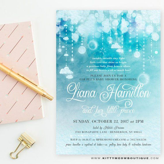Blue Watercolor Stars   Moon Baby Shower Invitations cc7e5eacaf