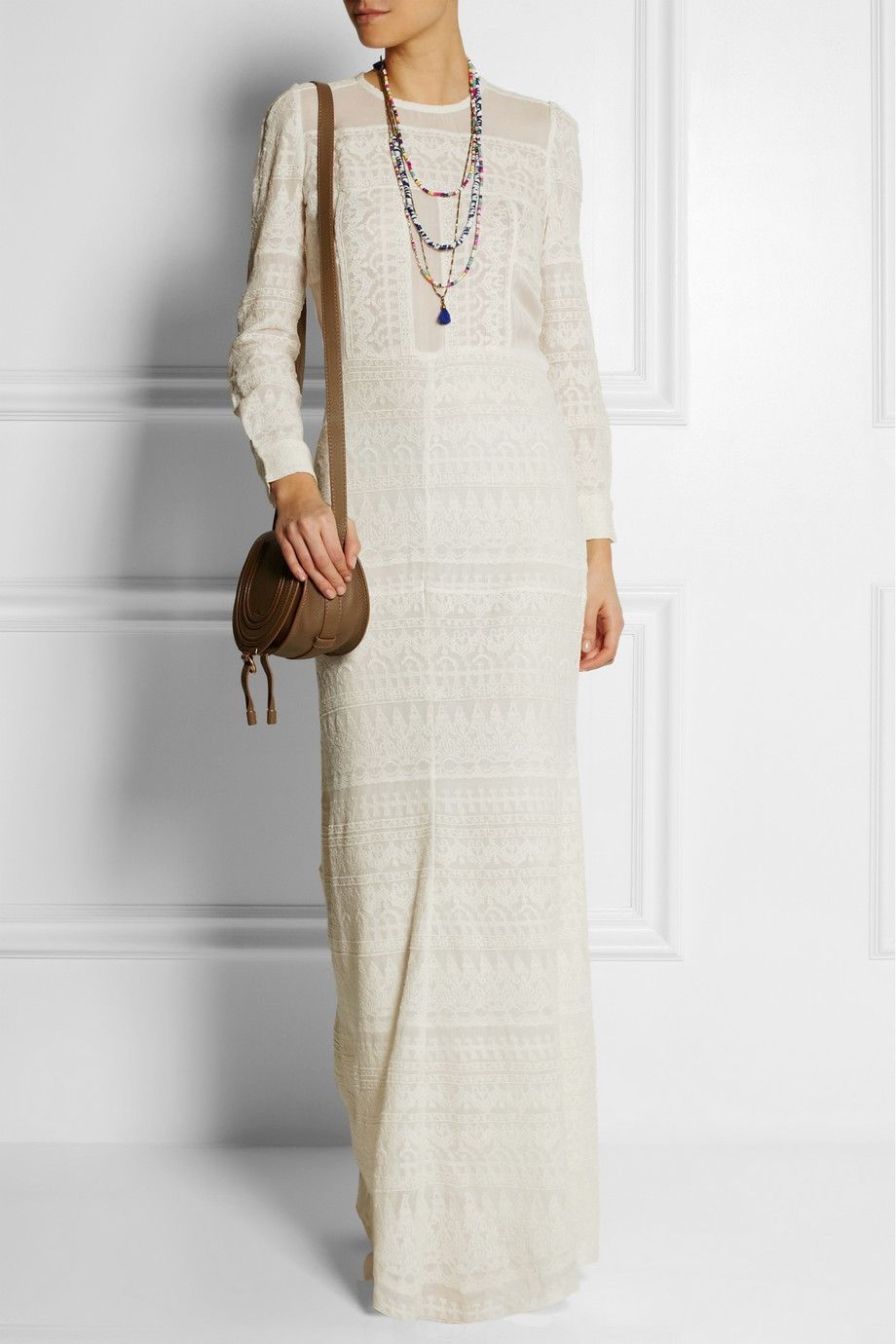 Isabel Marant Talma Embroidered Gauze Maxi Dress In White