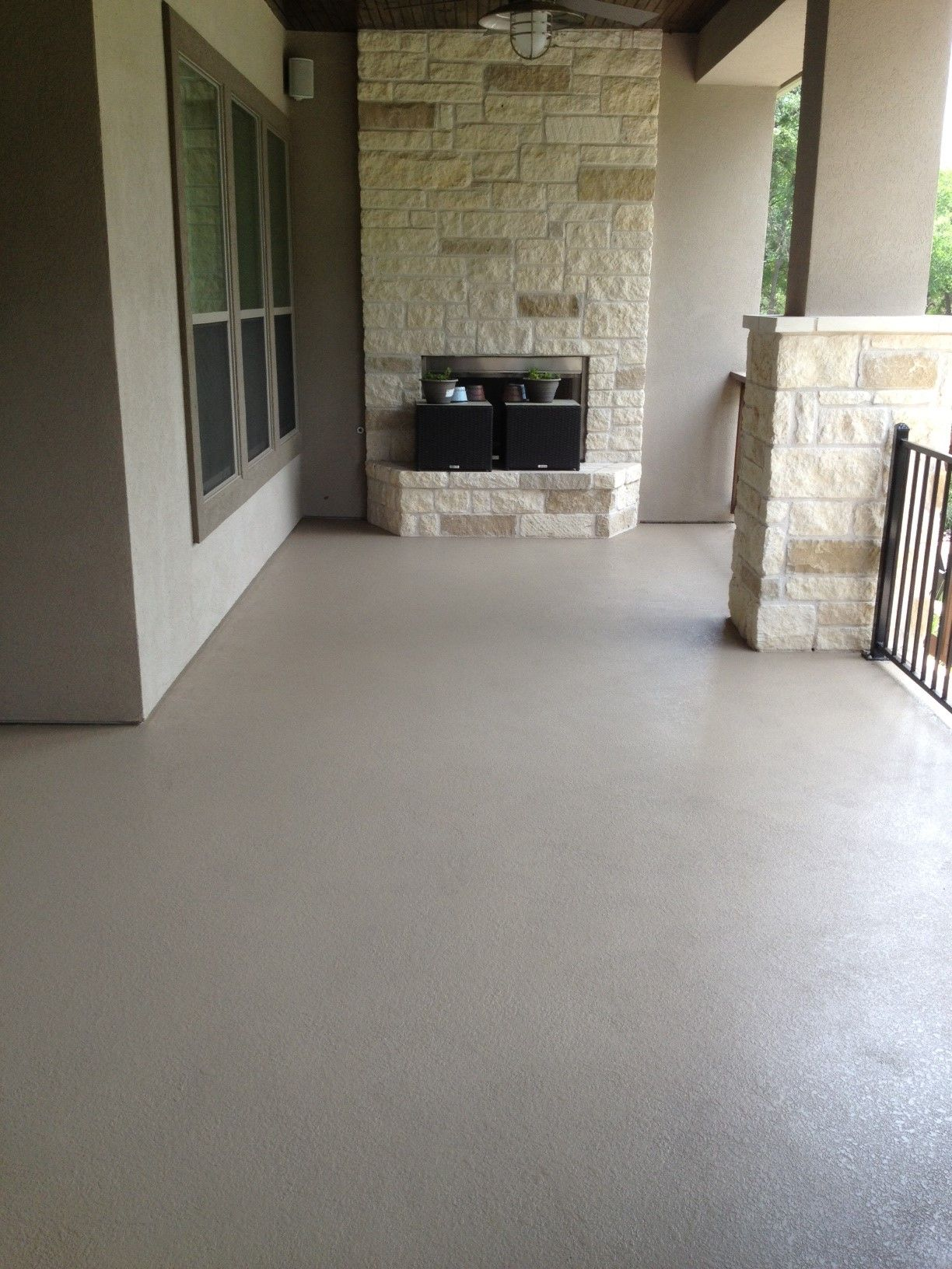 Custom painted concrete patio custom color created to for Cement paint colors for floors
