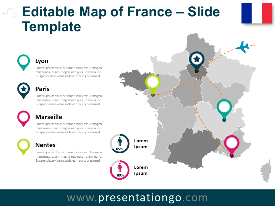 Map Of France For Powerpoint And Google Slides Presentationgo