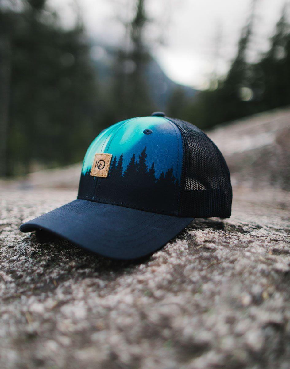 wholesale dealer 39322 79683 Navy outer space multi ten tree aurora borealis trucker mesh hat