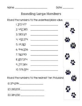 Rounding Whole Numbers Rounding Whole Numbers Math Fractions Worksheets First Grade Math Worksheets