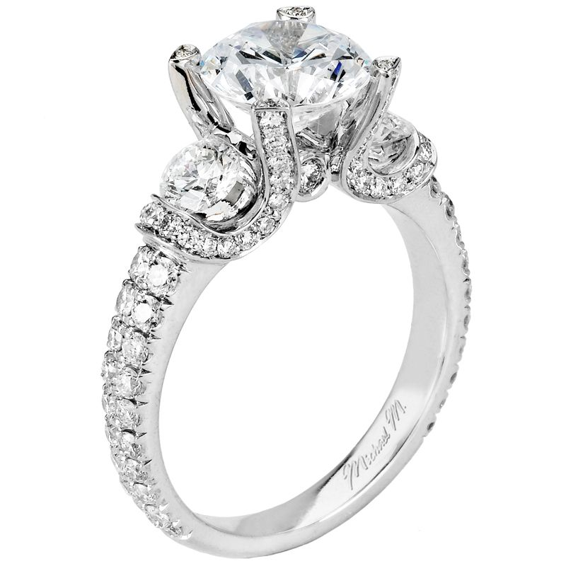 Michael M Handcrafted pave and u set three stone ring with bezel
