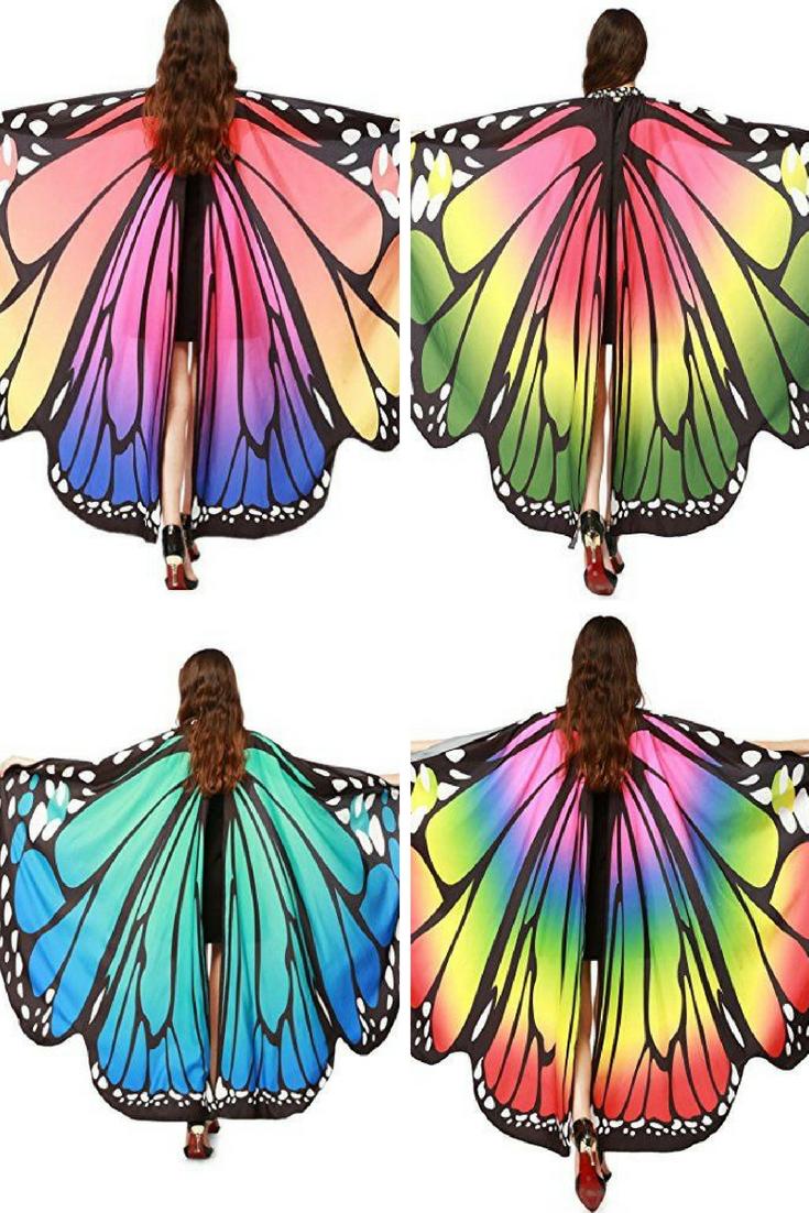 Women Butterfly Wings Dress Fairy Costume Lady Nymph Pixie Shawl Fancy Prom Prop