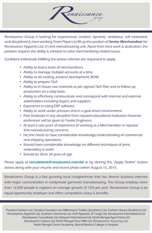 Job at Renaissance Group Renaissance and Group - merchandiser job description