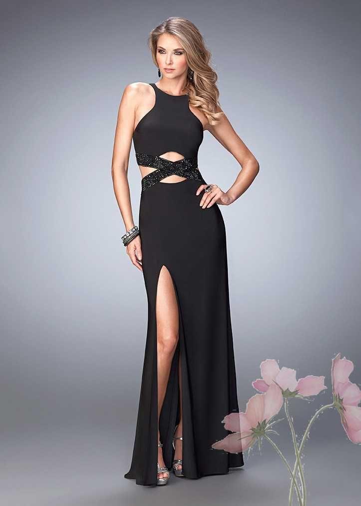 Cheap Black Knockout Sultry Cut Out Evening Gown Outlet | La Femme ...