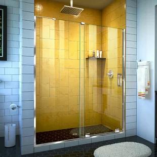 Aston Coraline Xl 56 W X 80 H Single Sliding Frameless Shower Door Wayfair In 2020 Frameless Shower Doors Shower Doors Tub Doors