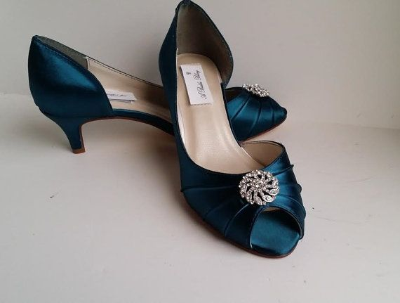 fe4fbdc2319fc Teal Wedding Shoes with crystal design Teal Bridal Shoes Teal ...