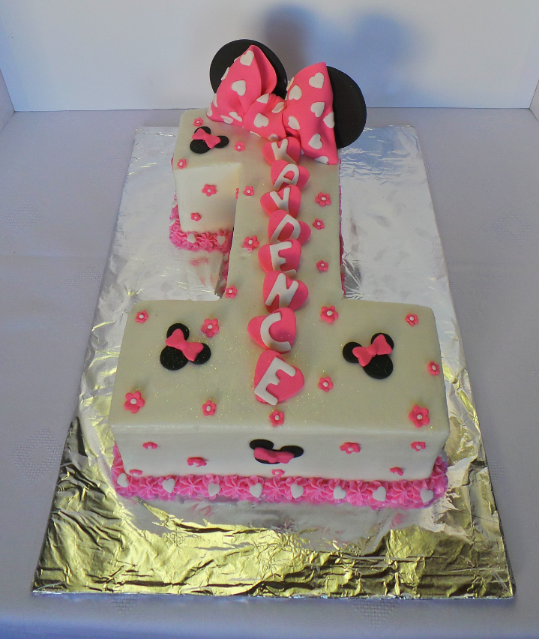 Number 1 Themed Minnie Mouse Birthday Cake Minnie Mouse Birthday Cakes Baby Girl Birthday Cake Animal Birthday Cakes