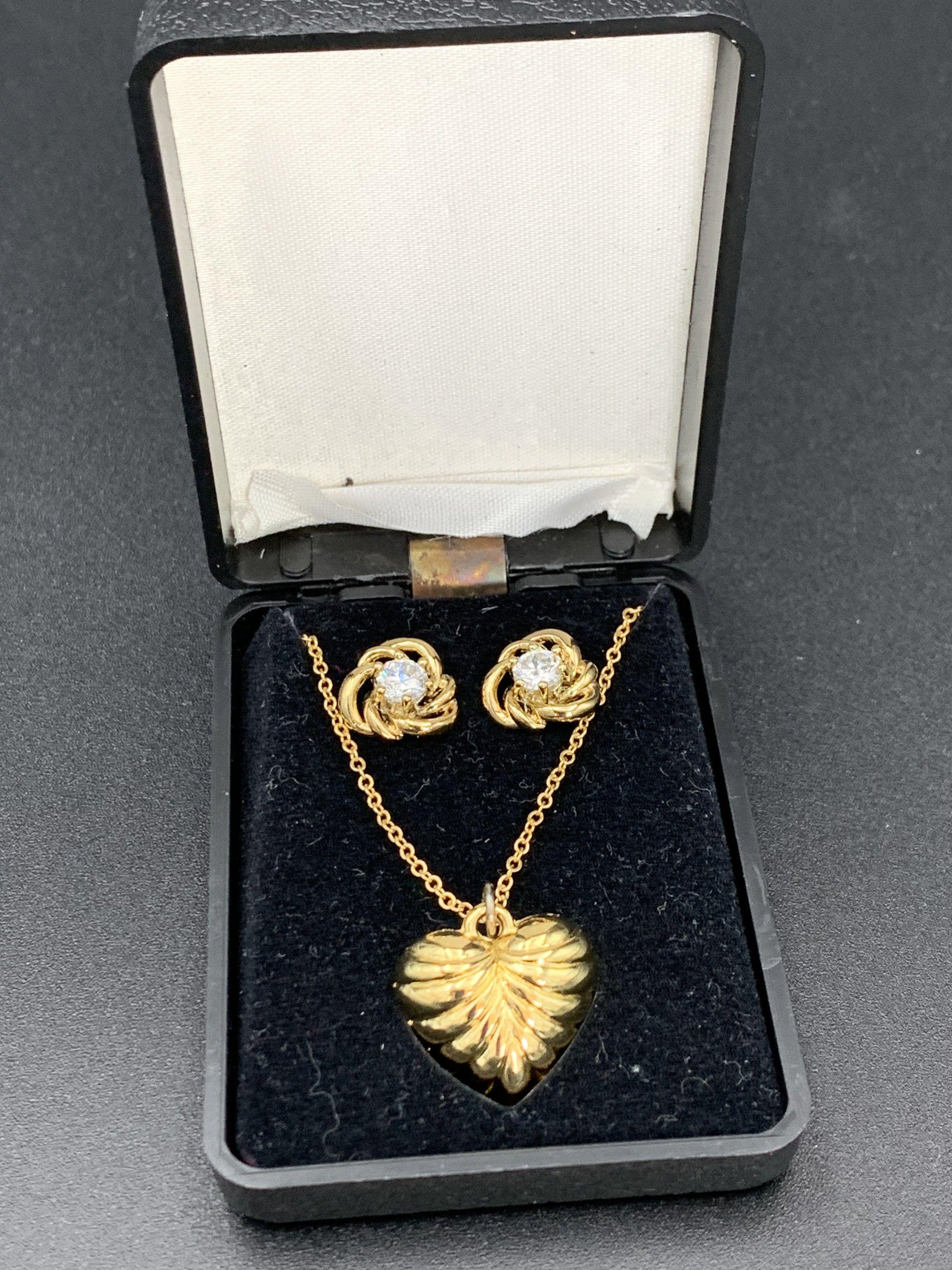 Jewelry Set Heart Necklace and Cubic Zirconia Earrings | Etsy in 2020 |  Vintage jewelry sets, Etsy earrings, Women jewelry